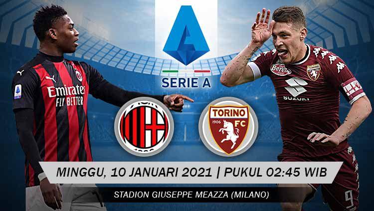 Duel AC Milan vs Torino di pekan ke-17 Serie A Liga Italia dapat disaksikan secara streaming, Minggu (10/01/21) dini hari WIB. Copyright: © Grafis: Yanto/Indosport.com