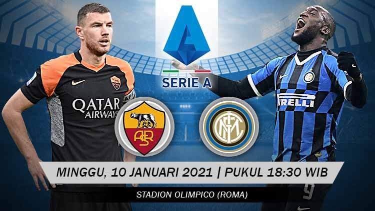 Berikut prediksi pertandingan lanjutan pekan ke-17 kompetisi Serie A Italia musim 2020-2021 antara tuan rumah AS Roma vs Inter Milan. Copyright: © Grafis: Yanto/Indosport.com