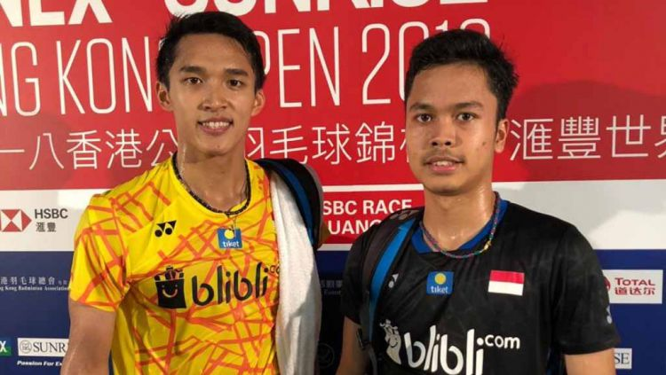Pebulutangkis tunggal putra Indonesia, Jonatan Christie dan Anthony Ginting. Copyright: © Twitter@INABadminton