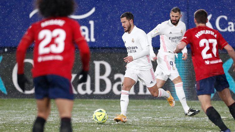 Pemain Real Madrid, Eden Hazard Saat Menghadapi Osasuna di Liga Spanyol Copyright: © twitter.com/realmadriden