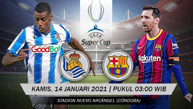 Pertandingan Real Sociedad vs Barcelona (Super Cup). Copyright: © Grafis:Yanto/Indosport.com