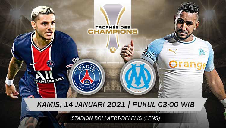 Prediksi pertandingan Trophee des Champions alias Piala Super Prancis antara Paris Saint-Germain (PSG) vs Marseille, Kamis (14/01/21) dini hari WIB. Copyright: © Grafis:Yanto/Indosport.com