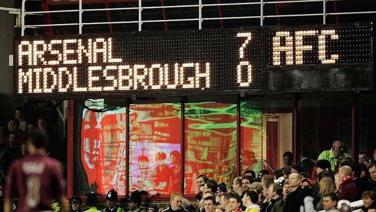 Papan skor pertandingan Liga Inggris antara Arsenal kontra Middlesbrough, 14 Januari 2006. Copyright: © Arsenal