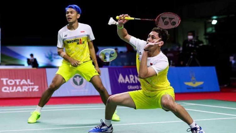 Pertandingan antara Fajar Alfian/M Rian Ardianto (Indonesia) vs Leo Rolly Carnando/Daniel Martin (Indonesia) di Thailand Open 2021. Copyright: © Shi Tang/Getty Images