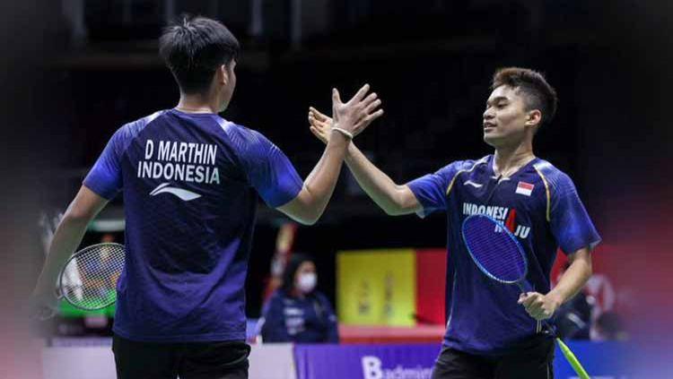 Menjelang kompetisi Swiss Open 2021, pasangan ganda putra muda Indonesia Leo Rolly Carnando/Daniel Marthin mengumumkan kabar bahagia. Copyright: © twitter@bwfmedia