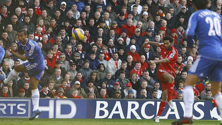 Aksi gelandang Liverpool, Jermaine Pennant, dalam pertandingan Liga Inggris kontra Chelsea, 20 Januari 2007. Copyright: © Twitter LFC Stats