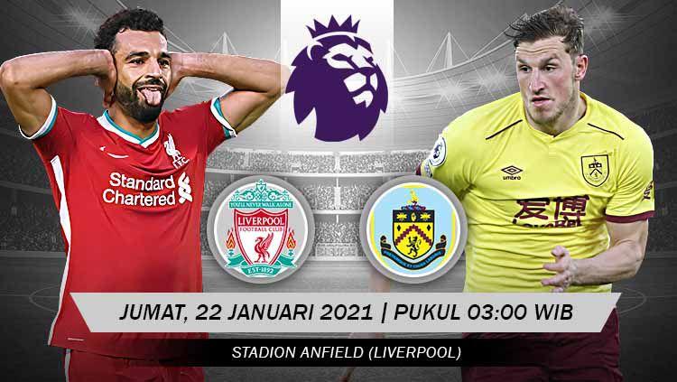 Berikut link live streaming pertandingan Liga Inggris 2020-2021 antara Liverpool vs Burnley yang akan berlangsung di Anfield Stadium. Copyright: © Grafis:Yanto/Indosport.com
