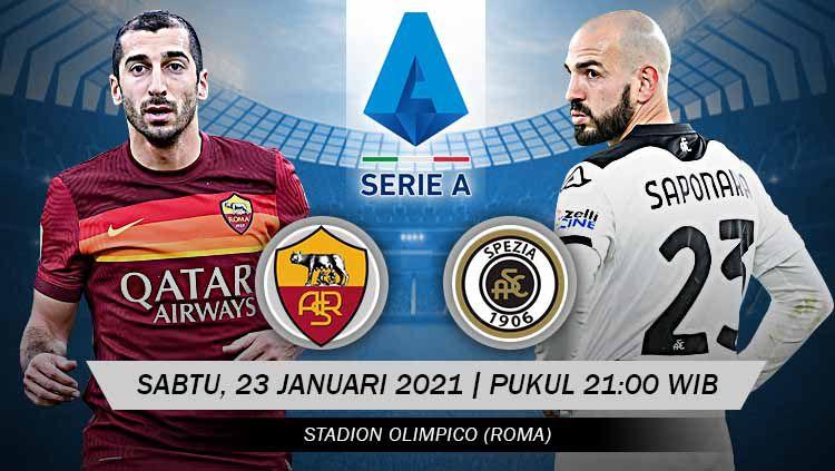 Berikut prediksi pertandingan lanjutan pekan ke-19 kompetisi Serie A Liga Italia musim 2020-2021 antara tuan rumah AS Roma vs Spezia. Copyright: © Grafis:Yanto/Indosport.com