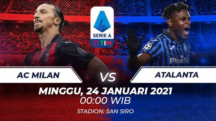 Berikut kami telah susun duel antarlini laga AC Milan vs Atalanta pada pekan ke-19 Liga Italia di Stadion San Siro, Minggu (24/01/21) dini hari WIB. Copyright: © Grafis:Frmn/Indosport.com