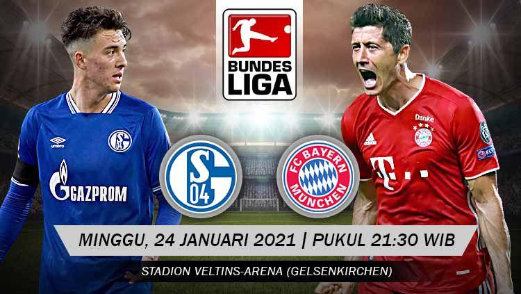 Berikut tersaji link live streaming pertandingan Bundesliga Jerman 2020-2021 antara Schalke 04 vs Bayern Munchen yang akan berlangsung di Veltins-Arena. Copyright: © Grafis:Yanto/Indosport.com