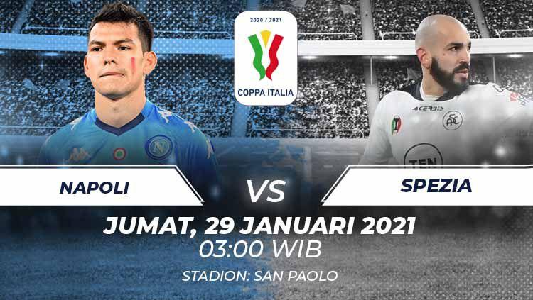 Berikut tersaji prediksi pertandingan perempatfinal Coppa Italia 2021 antara Napoli vs Spezia yang akan berlangsung di Stadion Diego Armando Maradona. Copyright: © Grafis:Frmn/Indosport.com