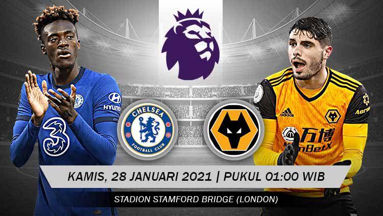 Prediksi pertandingan pekan ke-20 Liga Inggris 2020-2021 antara tuan rumah Chelsea berhadapan dengan Wolverhampton yang digelar di Stadion Stamford Bridge. Copyright: © Grafis:Yanto/Indosport.com
