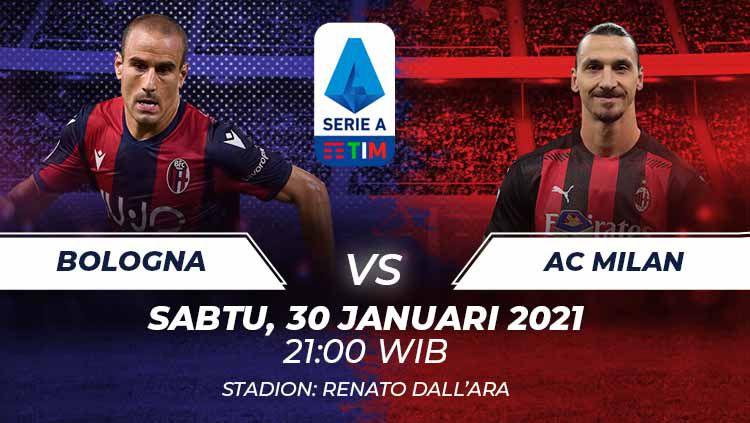 Berikut link live streaming pertandingan Serie A Liga Italia 2020-2021 antara Bologna vs AC Milan yang akan berlangsung di Stadion Renato Dall'Ara. Copyright: © Grafis:Frmn/Indosport.com