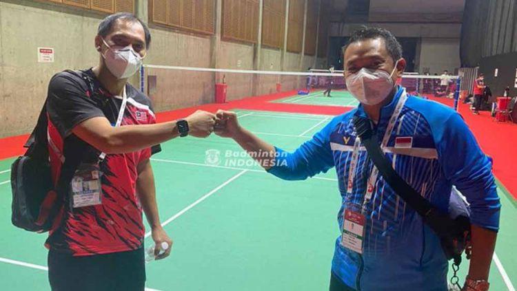 Mantan pasangan ganda putra Indonesia, Flandy Limpele (kiri) dan Eng Hian. Copyright: © Twitter@INABadminton