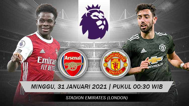 Arsenal akan menjamu lawan kuat Manchester United pada pertandingan pekan ke-21 Liga Inggris 2020-2021 di Emirates Stadium, Minggu (31/01/21) dini hari WIB. Copyright: © Grafis:Yanto/Indosport.com