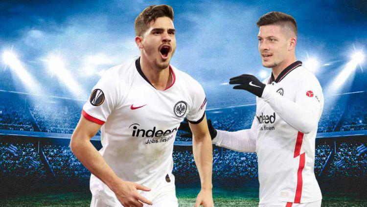 Luka Jovic dan Andre Silva menyilaukan mata publik sepak bola Eropa, terutama Real Madrid dan AC Milan, berkat duet tajamnya di Eintracht Frankfurt. Copyright: © Grafis:Yanto/Indosport.com