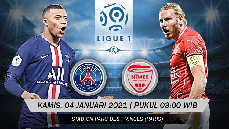 Berikut prediksi pertandingan Ligue 1 Prancis yang menampilkan laga menarik antara Paris Saint-Germain (PSG) vs Nimes di Parc des Princes, Kamis (04/02/21). Copyright: © Grafis:Yanto/Indosport.com