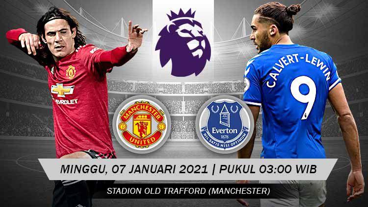 Berikut prediksi pertandingan Manchester United vs Everton di ajang Liga Inggris pekan ke-23, Minggu (7/2/2021) pukul 03.00 WIB di Old Trafford. Copyright: © Grafis:Yanto/Indosport.com