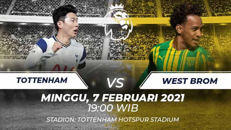 Prediksi laga Liga Inggris Tottenham Hotspur vs West Brom, Minggu (07/02/21). Hadapi penghuni zona degradasi, belum tentu laga ini akan mudah untuk Spurs. Copyright: © Grafis:Frmn/Indosport.com