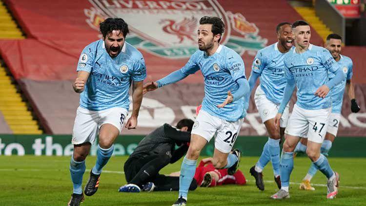 Selebrasi gol Ilkay Gundogan di laga Liverpool vs Manchester City. Copyright: © Jon Super - Pool/Getty Images