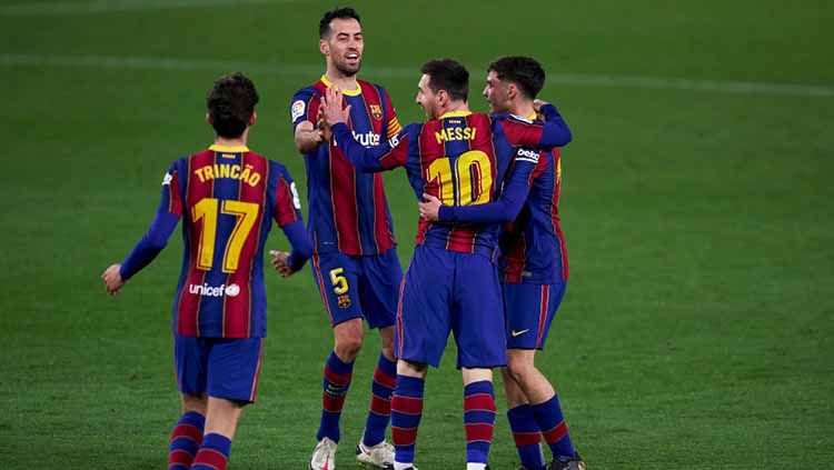 Selebrasi gol Lionel Messi di laga Real Betis vs Barcelona. Copyright: © Mateo Villalba/Quality Sport Images/Getty Images