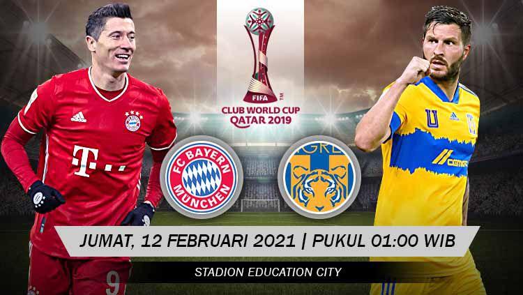 Berikut link live streaming pertandingan final Piala Dunia Antarklub 2020 yang mempertemukan Bayern Munchen vs Tigres UANL. Copyright: © Grafis:Yanto/Indosport.com