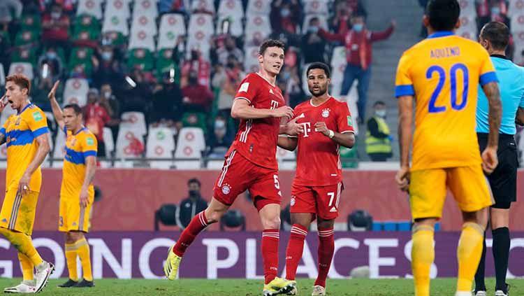 Selebrasi gol Benjamin Pavard di laga Bayern Munchen vs Tigres. Copyright: © M. Donato/Getty Images for FC Bayern