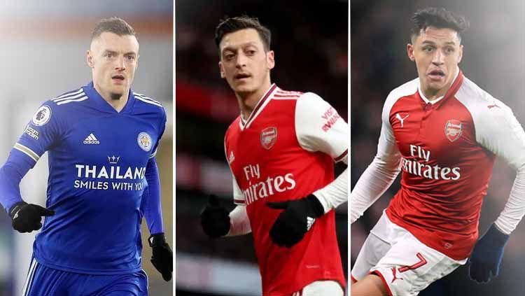 Arsene Wenger mengaku pernah berupaya memboyong Jamie Vardy di 2016. Akan seperti apa lini depan Arsenal jika berisi trio Vardy, Alexis Sanchez, dan Mesut Ozil? Copyright: © Grafis:Frmn/Indosport.com