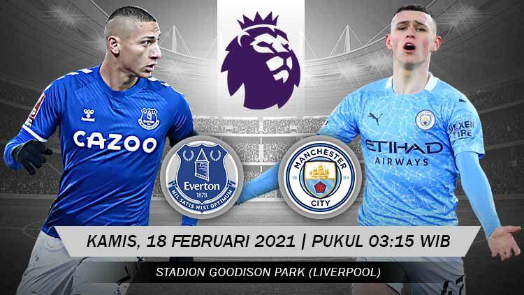 Prediksi pertandingan pekan ke-25 Liga Inggris antara tuan rumah Everton menjamu Manchester City di Stadion Goddison Park, Kamis (18/02/21) dini hari WIB. Copyright: © Grafis:Yanto/Indosport.com