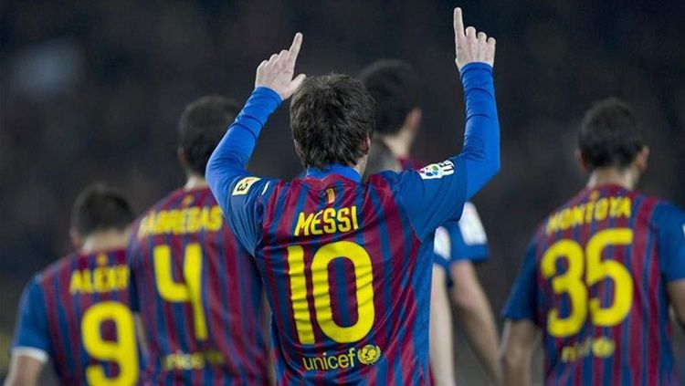 Selebrasi gol megabintang Barcelona, Lionel Messi, dalam pertandingan LaLiga Spanyol kontra Valencia, 19 Februari 2012. Copyright: © Eurosport