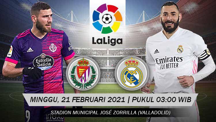 Berikut prediksi untuk pertandingan pekan ke-24 LaLiga Spanyol antara Real Valladolid vs Real Madrid, Minggu (21/02/21) pukul 03.00 WIB. Copyright: © Grafis:Yanto/Indosport.com
