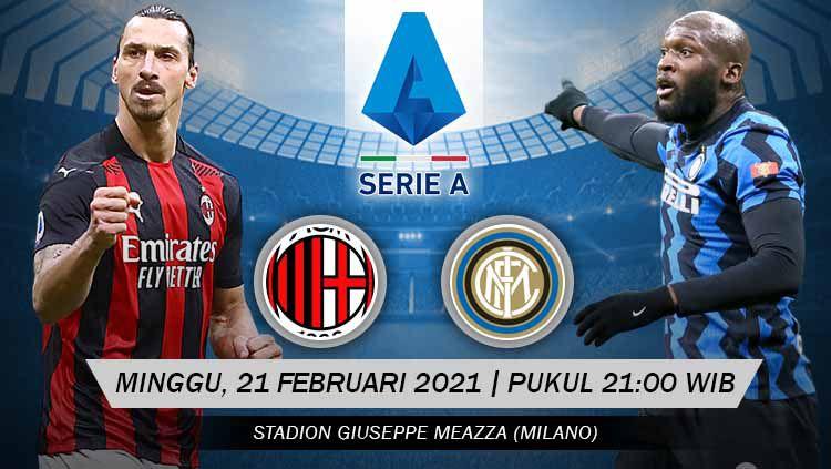 AC Milan akan menghadapi Inter Milan di Serie A Italia, Minggu (21/02/21). Situasi menarik terjadi karena kedua tim mengalami nasib berbeda jelang laga ini. Copyright: © Grafis:Yanto/Indosport.com