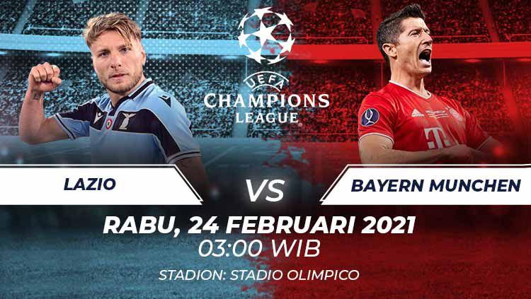 Link live streaming pertandingan leg pertama babak 16 besar Liga Champions Eropa musim 2020-2021 antara Lazio vs Bayern Munchen. Copyright: © Grafis:Frmn/Indosport.com