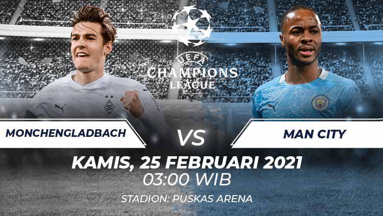 Prediksi pertandingan leg pertama 16 besar Liga Champions Borussia Monchengladbach vs Manchester City, Kamis (25/02/21) dini hari WIB. Copyright: © Grafis:Frmn/Indosport.com
