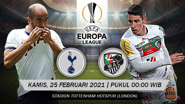 Berikut prediksi pertandingan leg 2 babak 32 besar Liga Europa antara Tottenham Hotspur vs Wolfsberger, Kamis (25/02/21) pukul 00.00 WIB. Copyright: © Grafis: Yuhariyanto/INDOSPORT