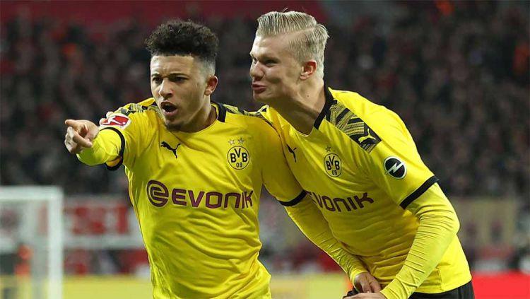 Jadon Sancho dan Erling Haaland, pemain Borussia Dortmund. Copyright: © Lars Baron/Bongarts/Getty Images