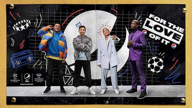 Paul Pogba, Lionel Messi, Jadon Sancho dan Shanice van de Sanden jadi model iklan Pepsi untuk Liga Champions Copyright: © dailymail.co.uk