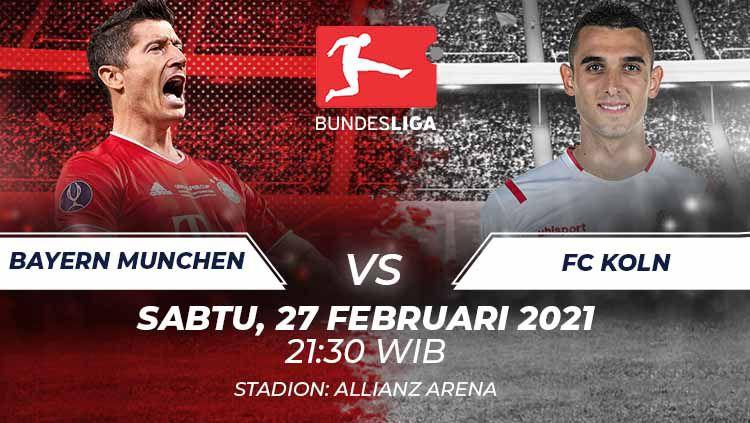 Berikut link live streaming pekan ke-23 Bundesliga Jerman 2020/21 antara Bayern Munchen vs FC Koln pada Sabtu (27/02/21) pukul 21:30 WIB. Copyright: © Grafis:Frmn/Indosport.com