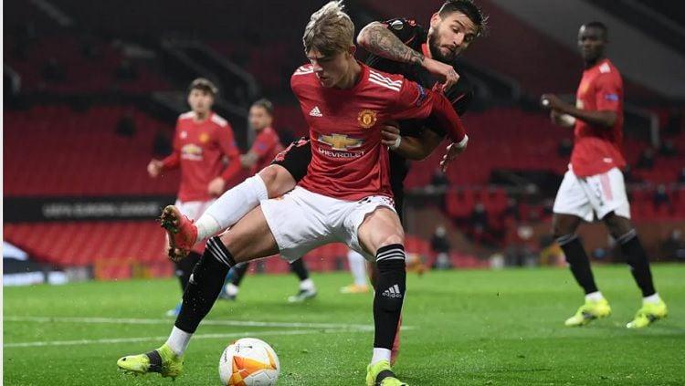 Pemandangan dalam pertandingan Liga Europa antara Manchester United vs Real Sociedad, Kamis (25/2/21). Copyright: © Europa League