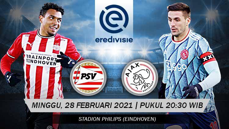 Prediksi pertandingan pekan ke-24 Eredivisie Liga Belanda antara PSV Eindhoven vs Ajax Amsterdam yang dilangsungkan di Philips Stadium, Sabtu (28/02/21). Copyright: © Grafis:Yanto/Indosport.com
