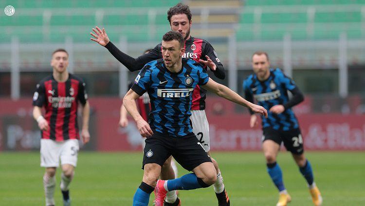 Aksi Ivan Perisic Saat Laga Inter Milan vs AC Milan di Serie A Italia Copyright: © Twitter @Inter