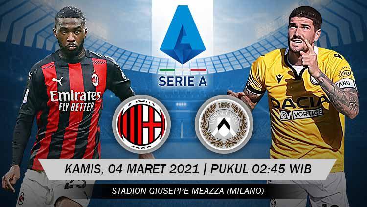Pertandingan AC Milan vs Udinese (Serie A). Copyright: © Grafis:Yanto/Indosport.com