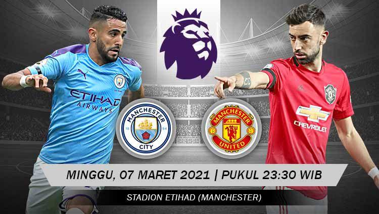 Link live streaming pertandingan lanjutan pekan ke-27 kompetisi Liga Inggris musim 2020-2021 antara Manchester City vs Manchester United. Copyright: © Grafis:Yanto/Indosport.com