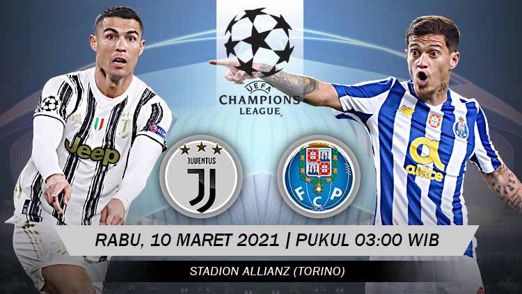 Prediksi pertandingan Juventus vs Porto di leg kedua babak 16 besar Liga Champions 2020-2021 di J Stadium, Rabu (10/3/21) pukul 03.00 WIB. Copyright: © Grafis:Yanto/Indosport.com