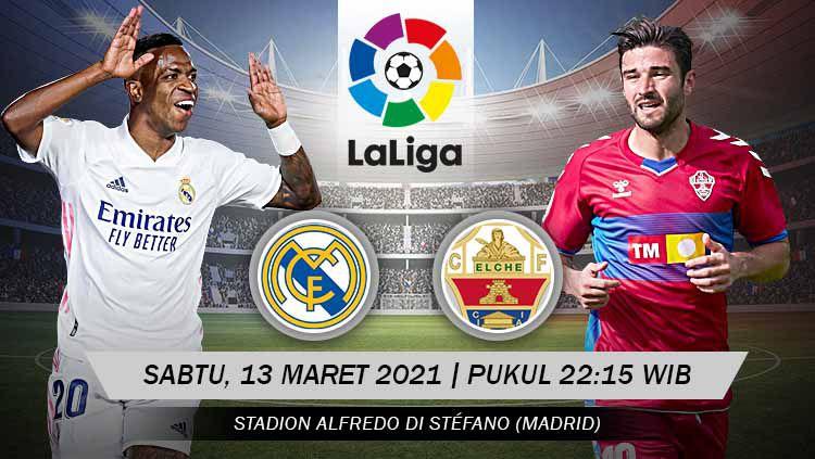 Berikut prediksi untuk pertandingan pekan ke-27 LaLiga Spanyol antara Real Madrid vs Elche, yang akan digelar Sabtu (13/03/21) pukul 22.15 WIB. Copyright: © Grafis:Yanto/Indosport.com