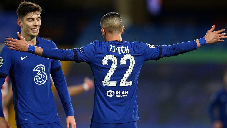 Selebrasi gol Hakim Ziyech di laga Liga Champions Chelsea vs Atletico Madrid Copyright: © Twitter @ChelseaFC