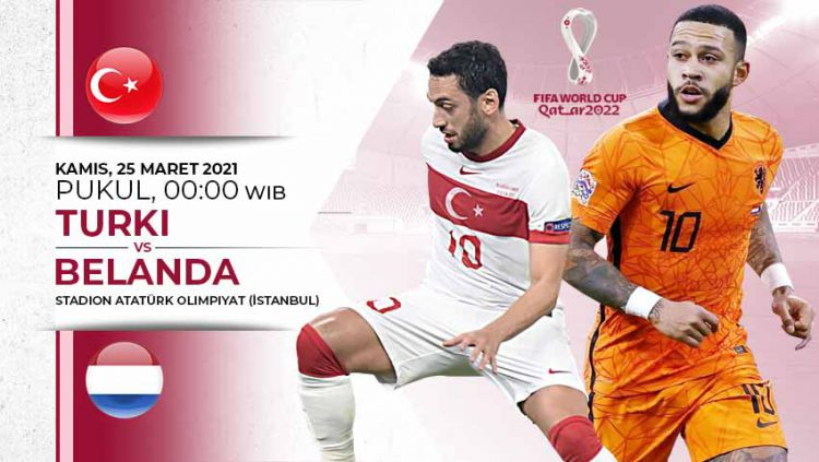 Berikut link live streaming Pertandingan kualifikasi Piala Dunia antara Turki vs Belanda. Copyright: © Grafis:Yanto/Indosport.com