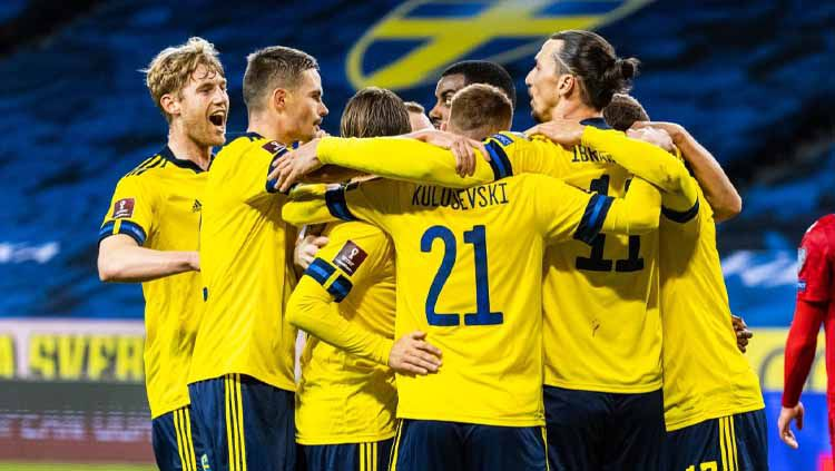 Selebrasi Tim Swedia pada laga internasional sebelum gelaran Euro 2020. Copyright: © Michael Campanella/Getty Images