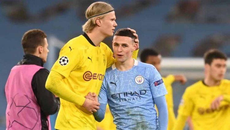 Erling Haaland (Borussia Dortmund) dan Phil Foden (Manchester City). Copyright: © thesun/gettyimages