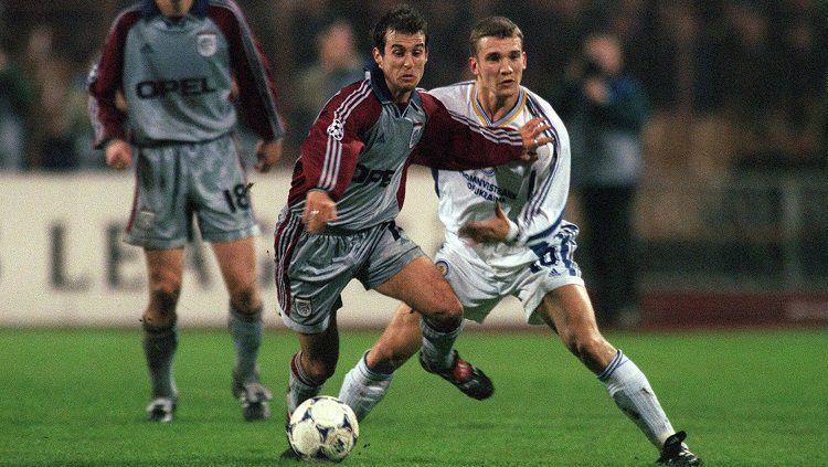 Aksi striker Dynamo Kyiv, Andriy Shevchenko, dalam pertandingan Liga Champions kontra Bayern Munchen, 7 April 1999. Copyright: © FC Bayern